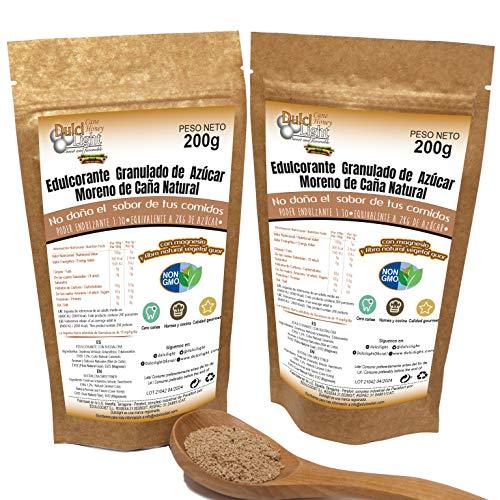 EDULCORANTE MORENO 100% NATURAL GRANULADO DE CAÑA CON MAGNESIO Y FIBRA VEGETAL GUAR |OFERTA LANZAMIENTO 2X1 | 2 ENVASES DE 200gr | 400gr = 4kg de Azucar