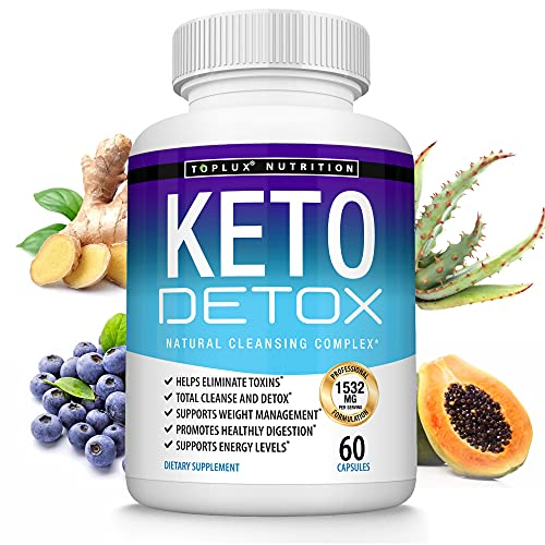 Keto Detox Pills Advanced Cleansing Extract – 1532 Mg Natural Acai Colon Cleanser Formula Using Ketosis & Ketogenic Diet, Flush Toxins & Excess Waste, for Men Women, 60 Capsules, Toplux Supplement