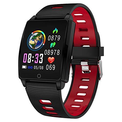 Padgene SmartWatch Reloj Inteligente IP67 Impermeable Bluetooth Pulsera Actividad Deportiva con Pulsómetro Monitor de Sueño, Música, Notificación de Llamada Mensaje para Android e iOS (Rojo) ✅