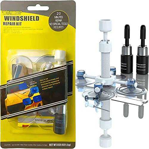 AODA Car Windshield Repair Kit Window Glass Crack Repair Tool Fluid Liquid Windshield Chips Scratch Repair Remover Kit Car Automotive Glass DIY Quick Fix with 2 Bottles of Resin