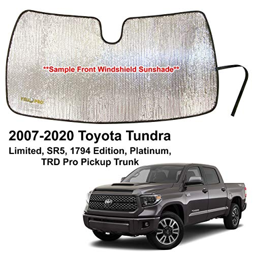 YelloPro Custom Fit Windshield Sunshade for 2007 2008 2009 2010 2010 2011 2012 2013 2014 2015 2016 2017 2018 2019 2020 Toyota Tundra Limited SR5 Platinum TRD Pro Pickup Truck, Sun Shade, Made in USA