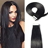 Tape In extensions echthaar 20pcs - 50g Remy Echthaar Haarverlängerung Extensions Echthaar Tape In #1 Tiefschwarz 50cm