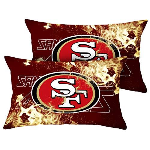 ZEWLLY Dekorativer Kissenbezug mit Fußball-Team-Motiv, weicher Kissenbezug für Couch, Sofa, Schlafzimmer, 2er-Set 18'' x 18'' San Francisco 49Ers