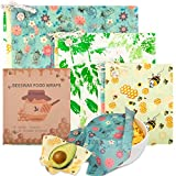 Beeswax Wrap, 9 Pack Reusable Food Wrappers, With Wrap Around Ties Sustainable Bowl Covers, Washable Biodegradable Wax Paper Alternative to Cling Film for Packing Bread Sandwich Cheese