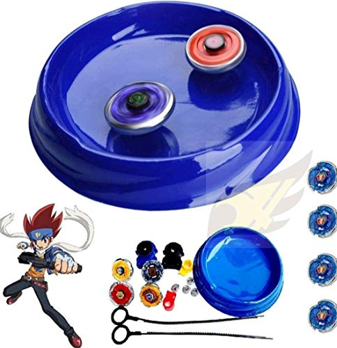 Famous Quality® New 4 in 1 Metal Beyb Toy Set with Stadium and 2 Launchers (4 Blade, Beyb) (Multi_Color)