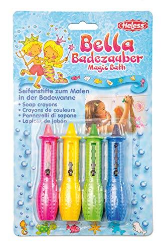 Heless 7000 - 4 Seifenmalstifte in pink, gelb, grün und blau, für abwaschbaren Malspaß und kreative Meisterwerke im Badezimmer