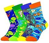 4 Pack Kids Boys Girls Novelty Crew Socks Funny Cartoon Cute Sea Animal Food Avocado Pineapple Cat
