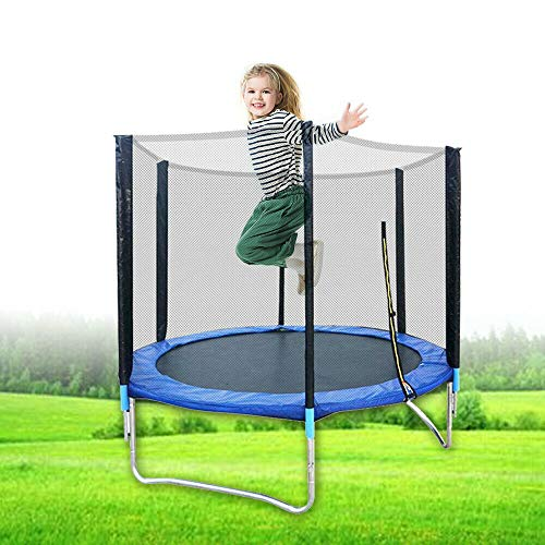 6FT 183cm Trampoline Kids Adults with Safety Enclosure Net Indoor Outdoor Bounce Training Fitness...