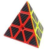 Coolzon Triángulo Pyraminx Puzzle Cube Pyramid Cubo Magico con Pegatina de Fibra de Carbono Velocidad