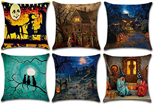 HKPLDE Halloween Pillow Covers, 18×18 Inch Pillow Covers Linen Pillow Case For Sofa Couch Halloween Decorations Throw Pillow Covers-A-45x45cm(18x18inch)