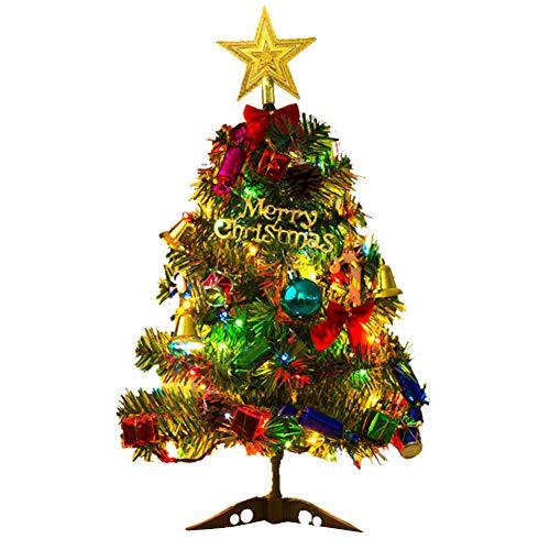 Mallalah Árbol de Navidad 50 cm con Luz LED 20 Pequeños Bulbos 3M Decoración de la Mesa Adorno del Partido de Navidad Abeto para la Oficina en Casa Mesa de la Mesa Escaparate Decoración DIY