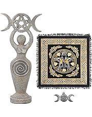 Sarimoire Ołtarz Tkanina Bogini Statua Spirala Wiccan Potrójny Księżyc Pentagram Pentagram Wisiorek Ołtarz Zestaw