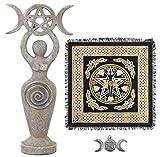 Sarimoire Altar de tela estatua de la diosa espiral triple de la luna Wicca Pentagram del pentáculo colgante altar Suministros Kit