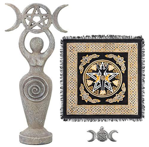 Altar Cloth Goddess Statue Spiral Wiccan Triple Moon Pentagram...