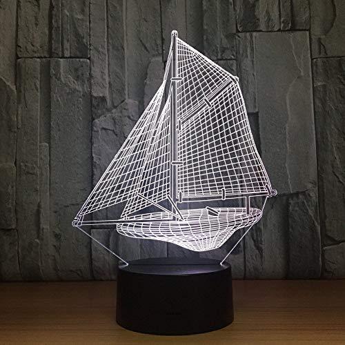 Luz de noche 3D de lujo 3D creativo barco de vela luz de noche luces de colores dormitorio luz de noche 7 colores luz 3D decoración del hogar