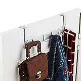 YANX Over The Door Hook Hanger, Aluminum Heavy Duty Organizer for Coat, Towel, Bag, Robe etc, 6 Hooks Brush Finish