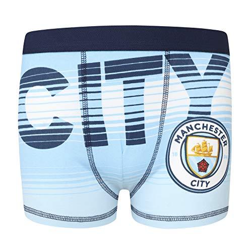 Manchester City FC - Jungen Boxershorts mit Vereinswappen - Offizielles Merchandise - Geschenk für Fußballfans - 1 Paar - Blau - 9-10Jahre