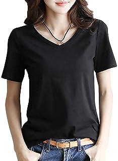 半袖 Tシャツ レディース トップス 無地 Vネック きれいめ シンプル カットソー M~XL (黒・白・グレー)(アブロンダ)ABRONDA