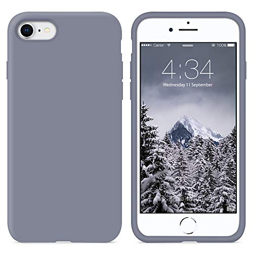 SURPHY iPhone SE 2020 Hülle, iPhone SE 2 (2020) Hülle Silikon, iPhone 8 Hülle Silikon, iPhone 7 Hülle Silikon, Silikon Handyhülle für iPhone 8 iPhone 7 4,7 Zoll Protective Schutzschale, Lavendelgrau