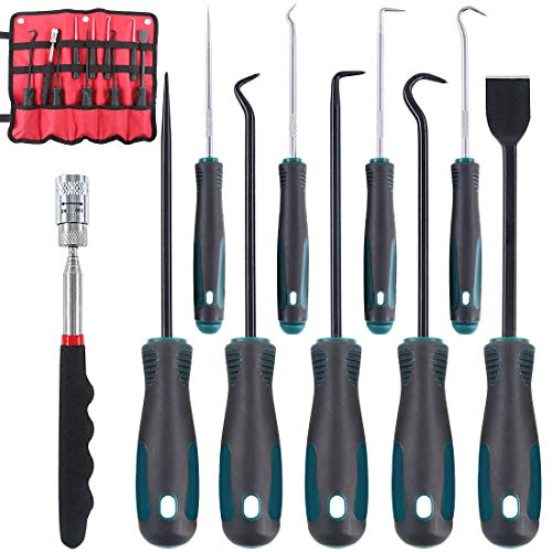 Glarks 10 In 1 Heavy Duty Hook and Pick Set, 9Pcs Precision Scraper, Hook and Pick with a 19 to 69 CM Telescopic Magnetic Pickup Tool For Removing Gaskets, Springs, Oil Seals, O-rings