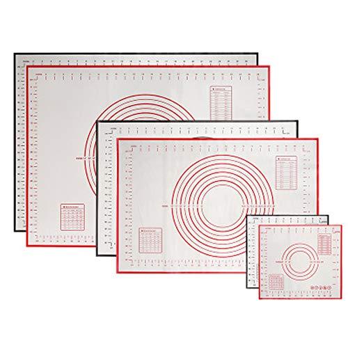 Tapetes de silicona HEPHEASTUSOR para amasar, herramientas de horneado de cocina, de silicona suave, fácil de limpiar, color negro, pequeño