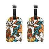 Etiquetas retro para equipaje con diseño de lirios de Pascua, para mujeres, hombres, niños, personalizadas, juego de 2 maletas, identificación de viaje, señora, bolso de mano con hebilla de piel