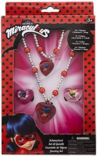 Joy Toy Miraculous 65991 - Juego de joyas (1 pulsera de perlas, 1 collar de perlas y 2 anillos, en caja de regalo, 12 x 4 x 18 cm), diseño de chicas