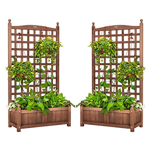 VIVOHOME 2PCS Wood Planter Raised Beds with Trellis 48 Inch Height FreeStanding Planters for Garden Yard