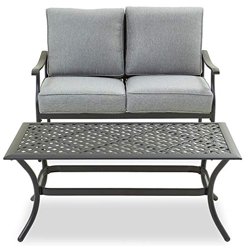 PatioFestival Patio Loveseat Set All Weather 2-Person Cushioned Outdoor Sofa Bench with Coffee Table(2 Pcs,Grey)