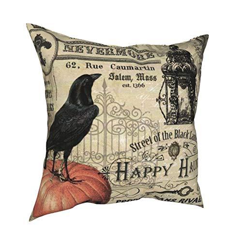 Uliykon Fundas de cojín decorativas de calabaza y cuervo de Halloween, estilo vintage, suaves, cuadradas, fundas de almohada para sofá, dormitorio, coche, con cremallera invisible, 45,7 x 45,7 cm