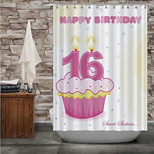 MOOCOM Sweet Sixteen Birthday Cup Cake with Numeral Candles Isolated on White,Bathroom Decor Set with Hooks 84''Wx72''H