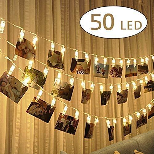 WUJUN 50 LEDs Lichterkette für den Innenbereich zum Aufhängen von Bildern, Karten und Memos, ideales Geschenk, Foto-Clip Halter für Schlafsaal Schlafzimmer Dekoration (50 Clips)
