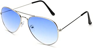 Gansta UV Protected Silver Blue Aviator Sunglasses for Men Women (Gn-3002-Sil-Blu|Blue)