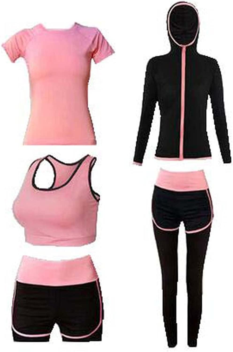 Women's 5pcs Sport Suits Fitness Yoga Running Athletic Tracksuits XL