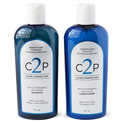 CLEAR 2 PERFECTION Non-Comedogenic Shampoo & Conditioner Set for Blemish Free Skin with Antioxidants and Fresh Cells