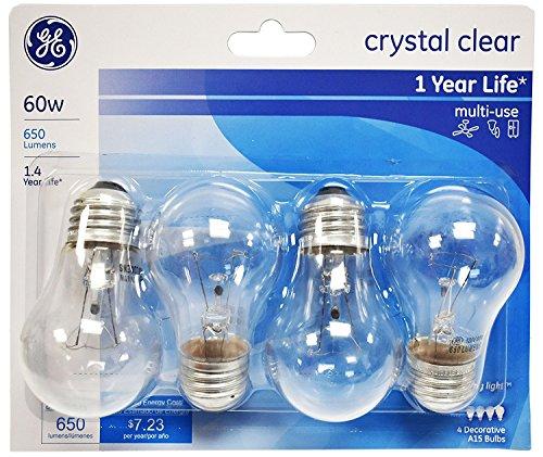 GE Lighting 60 Watt, 650 Lumens A15 Clear Ceiling Fan Bulbs - 4 Pack