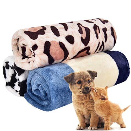 PET SPPTIES Pata pequeña impresión paño Grueso y Suave Manta Suave Estera del Animal doméstico 3 Piezas PS016 (M, 3PCS Muti-Color)