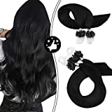 Moresoo 20 Inch Micro Loop Hair Extensions Remy Straight Hair Microlink Hair Extensions Human Hair Color #1 Jet Black Micro Beads Hair Extensions 50 Grams 50 Strands Per Pack