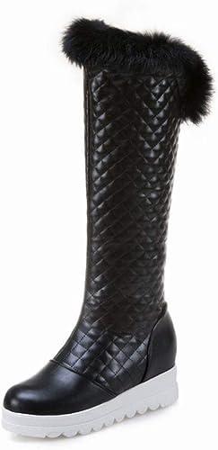 ZHRUI botas para mujer  botas de esquí de Invierno cálidas botas Planas de Cuero más Terciopelo Gruesos zapatos de algodón Casual cálido 3543 Yardas (Color   negro, tamaño   36)