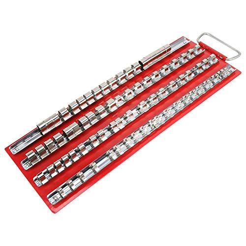Ladieshow Organizador de estante de bandeja de enchufe duradero para trabajo pesado 1/2 1/4 3/8 pulgadas Soporte para herramientas de riel de taller de garaje(80 piezas)