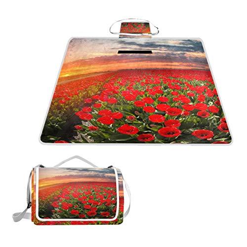 LZXO Jumbo-Picknickdecke, faltbar, Natur-Tulpen, Blumen-Sonnenuntergang, groß, 145 x 150 cm, wasserdicht, handliche Matte, für Outdoor-Reisen, Camping, Wandern.