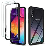 KEEPXYZ Funda para Samsung Galaxy A50 A30s A50s + 2 Pcs Protector Pantalla para Samsung A50/A30s/A50s Cristal Templado, Antigolpes Negro y Transparente Carcasa + Vidrio Templado para A50/A30s/A50s