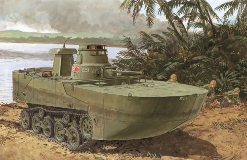Dragon 500777486–1 : 72 IJN Type 2 Amphibious Mi de réservoir (KA), modélisme