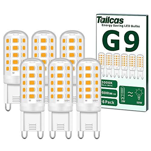 Ampoules LED G9, 5W Equivalent 50W Halogène Lampe, 15.5mm x 51mm Blanc Chaud 3000K 500LM Non Dimmable Sans Scintillement AC/DC 220-240V pour Chambre Salon Cuisine Jardin, Paquet de 6