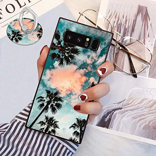 Samsung Galaxy Note 8 Square Edges Phone Case Soft TPU Slim Case with Ring Holder for Samsung Galaxy Note 8 - Palm Trees