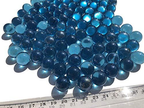 CRYSTAL KING Blaue Glasmurmeln Glaskugeln 16mm Durchmesser 500gr Dekokugeln durchsichtig Blaue klare Murmel Dekoglaskugel Dekoration Blaue Murmeln Glaskügelchen
