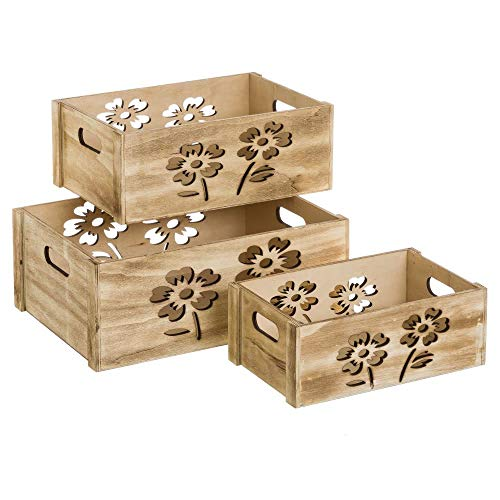 Set de Cajas de Flores de Madera marrón romántico para decoración Bretaña - LOLAhome