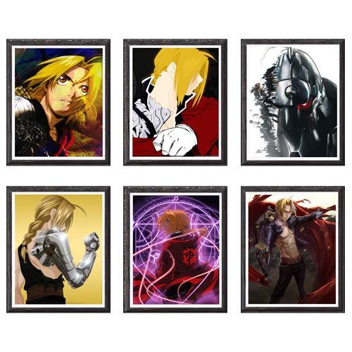 MS Fun Kimetsu no Yaiba Thunder Zenitsu Giyuu Tanjirou Demon Slayer Art Prints Wall Home Decor Canvas Print, 8 x 10 polegadas, sem moldura, conjunto de 6 peças 8 x 10 Inch Fullmetal Alchemist Manga Anime
