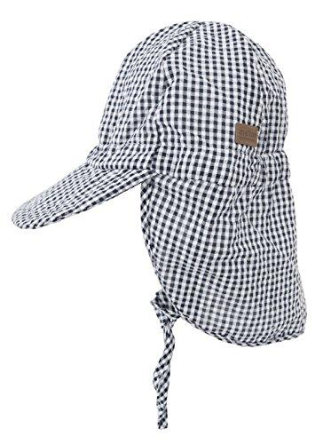Melton Jungen Sommerhut mit Schirm und Nackenschutz UV 30+, kariert Kappe, Mehrfarbig (Black 190), 55