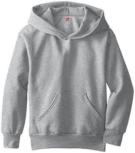 Hanes Big Boys' Eco Smart Fleece Pullover Hood, Light Steel, Medium